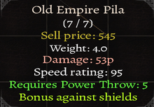 Old Empire Pila Stats