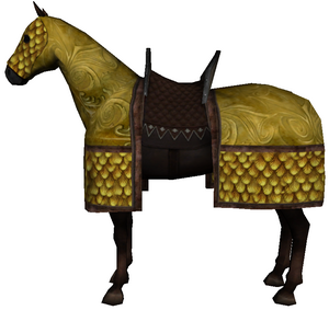 Caparisoned horse yellow