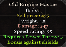 Old Empire Hastae Stats