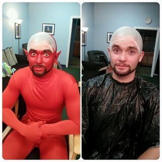 Burtis getting his makeup done to portray the Devil.
