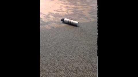 A bottle rolling