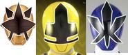 Headance - Gold, Yellow and Blue Ranger helmets