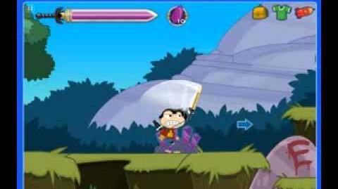 Poptropica Walking around and swinging my sword.