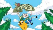 Finn i Jake lecąci na banknocie