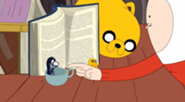 185px-S5 e5 Tiny Marceline, Jake, and Peppermint butler in front of book