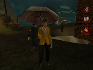Man in raincoat with umbrella 001