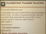 Uncertified Deed: 'Formidable' Second Rate