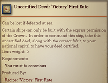 Uncertified Deed Victory First Rate