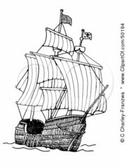 50194-Royalty-Free-RF-Clipart-Illustration-Of-A-Tall-Pirate-Ship-At-Sea-With-The-Sails-Open