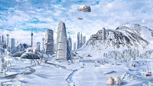 Mountains winter snow cityscapes skyline skyscrapers spaceships science fiction artwork 1920x1080 www.wallpaperfo.com 51