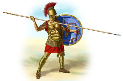 Ancient Greece hoplite with his hoplon and dory