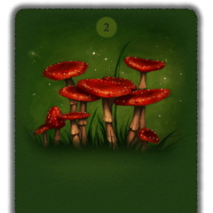 The fat red toadstools that appear to be talking to each other