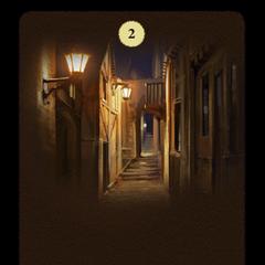 The narrow, dark, lantern-lit alley