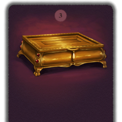 The ornate golden casket, standing on clawed feet, whose inscription warns that both secret knowledge and unbearable temptation lie within.