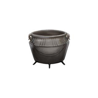 A pewter cauldron