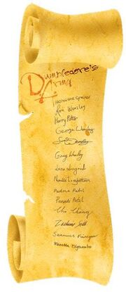 Dumbledore's Army Scroll with Member List on Parchment