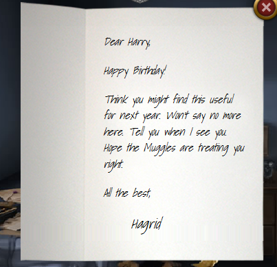 Harrys birthday pottermore wiki fandom powered by wikia birthday card from hagrid bookmarktalkfo Image collections