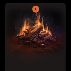A crackling log fire