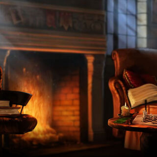 The comfy seats by the Gryffindor common room fireplace