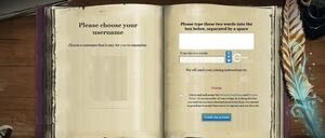 Pottermore Registration Choose Username