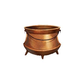 A copper cauldron