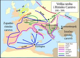 Karta zapadnog i istočnog rimskog carstva i plemena