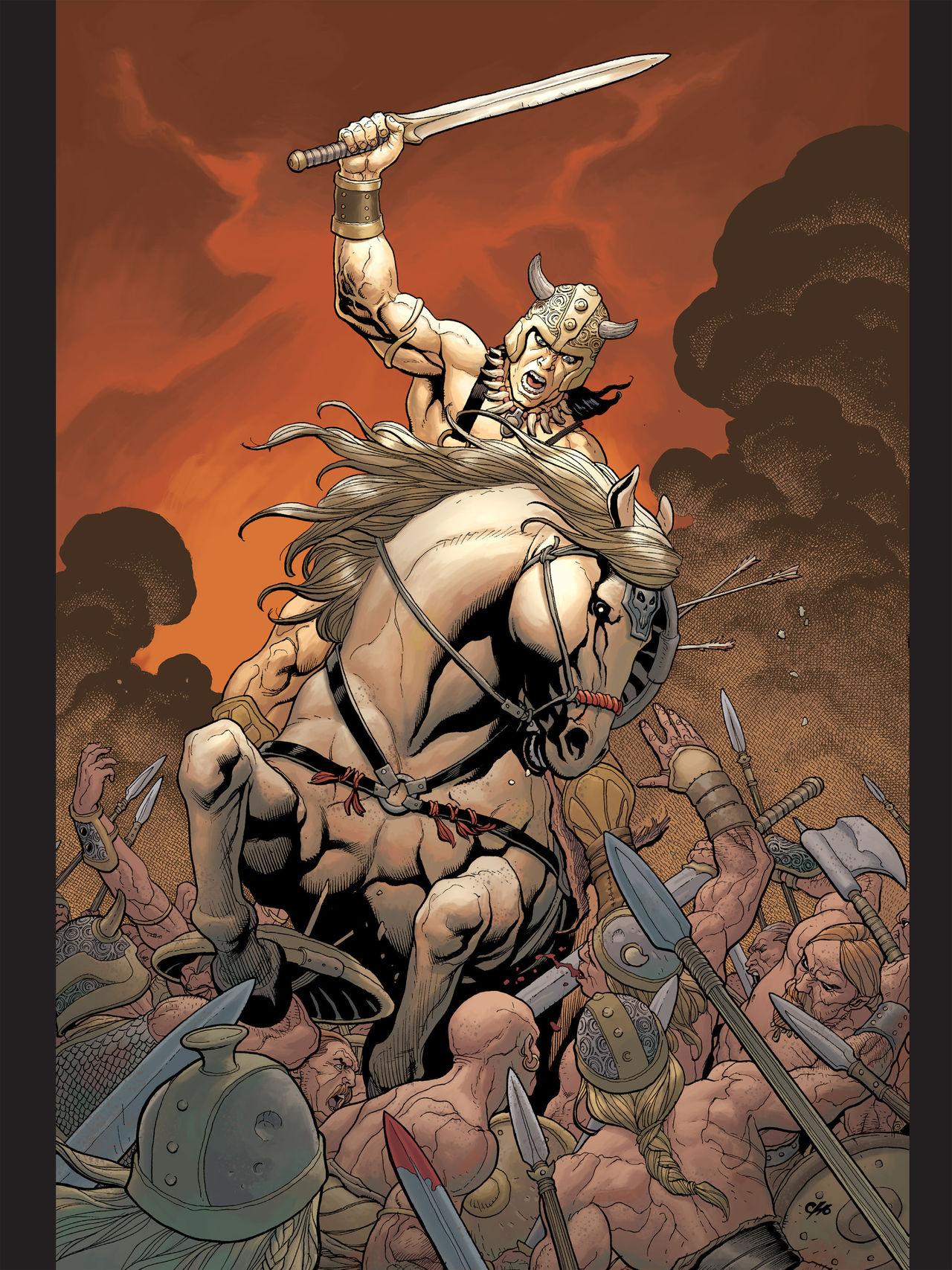 Conan (Conan the Barbarian) is a powerful barbarian who possesses brawn as  well as brain