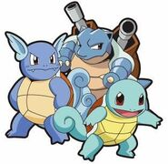 Squirtle, Wartortle and Blastoise