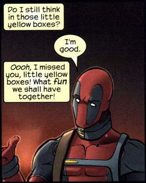 Deadpool Marvel Comics Is Aware That He In A Comic Book And Able To Express His Thoughts Via Captions