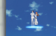 Hirenkyaku Uryu and Orihime ascend