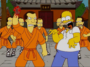 Shaolin monks tearing out Homer's heart