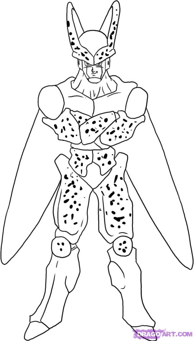 How to draw cell from dragon ball z step 6 jpg