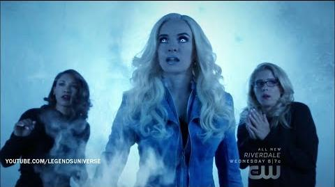 Killer Frost (The Flash) creates an ice shield to protect herself, Iris, and Felicity