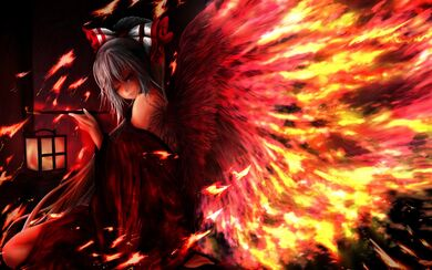 Fire red wings cute girl cool hd wallpaper -animefullfights.com-