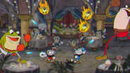 Cuphead and Mugman in action