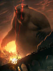 Giant groundhog with laser vision