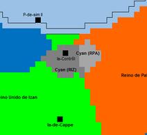 Máxima extensión de los territorios Cyan