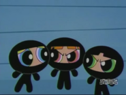 The Powerpuff Girls in Black Catsuits