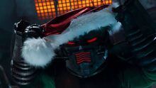 Sledge in Santa hat