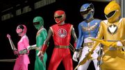 Megaforce Blue with Legendary Mode Rangers