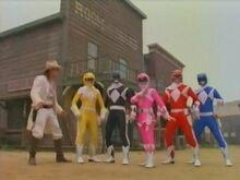 White Stranger, Wild West Rangers and Pink Ranger
