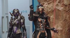 Beast Morphers Cybervillains Robo-Blaze and Robo-Roxy