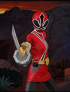 Legacy Wars Red Samurai Ranger female Victory Pose