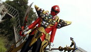 Gokai Red Gold Mode debut