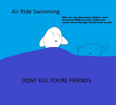 Kirby air ride swimming featuring no violence rated m for I want my money back lol why is this so long i dunno white kirby for smash 57