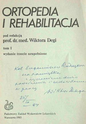 Egzemplarz książki podpisany przez Wiktora Degę