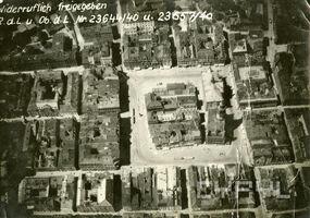 Zdjęcie lotnicze Starego Rynku i fragmentu Starego Miasta - 1940