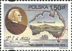 Edmund Strzelecki na znaczku pocztowym