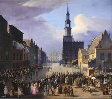 Stary Rynek z budynkami wagi i ratusza - 1838