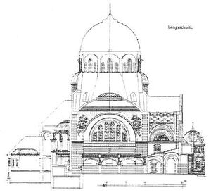 Poznań synagoga - przekrój podłuzny